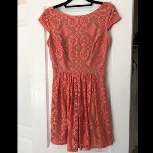 Coral lace sundress size 5/6